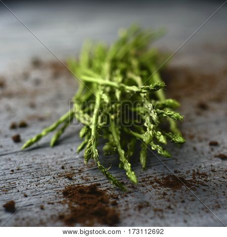 closeup of a bunch of wild asparagus on a rustic wooden surface