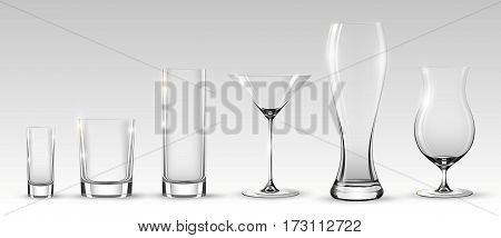 Empty realistic glasses set for different alcohol drinks and cocktails on gray background isolated vector illustration