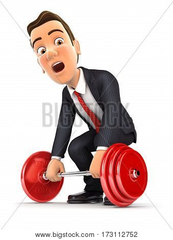 3d businessman trying to lift heavy weight illustration with isolated white background