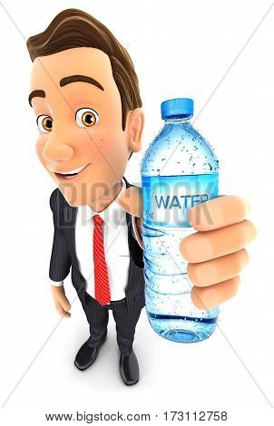 3d businessman holding water bottle illustration with isolated white background