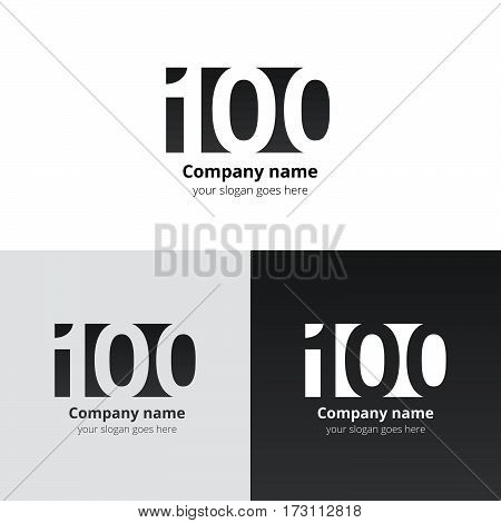 100 logo icon flat and vector design template. Monogram years numbers one and zero. Logotype one hundred with black-grey gradient color. Creative vision concept logo, elements, sign, symbol for card.