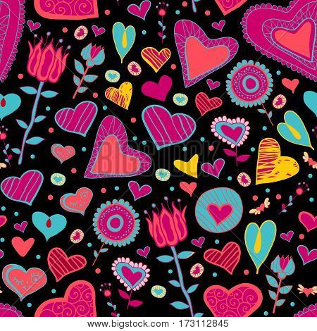 Bright children cartoon seamless pattern with flowers and hearts