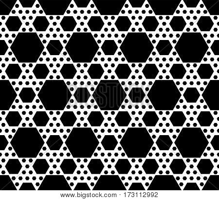 Vector monochrome seamless pattern, repeat geometric texture, black & white hexagonal grid, abstract modern backdrop. Background with simple figuresm hexagons. Design for decoration, fabric, prints, textile, clothes