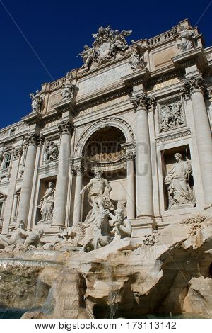 famous Trevi Fountain in Rome  - Italy.