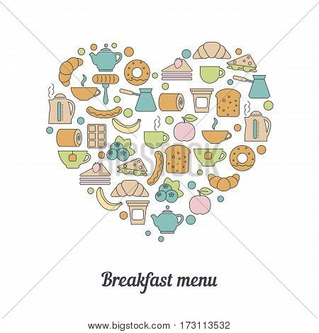Breakfast menu concept. Breakfast concept with breakfast icons in thin line style.