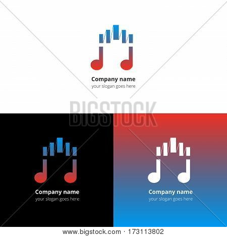 Music note logo, icon, sign, emblem motion equalizer wave beat vector template. Abstract symbol and button with blue-red color trend gradient for music service or company on white background.