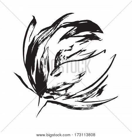 Black hand drawn flower print painted by black ink. Vector isolated.