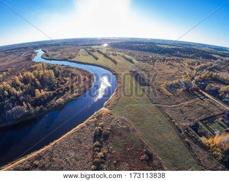 Aerial view of the river Mologa near the village Kuznetsy. Shooting from height of the bird's flight. Maksatikhinsky District Tver Region.
