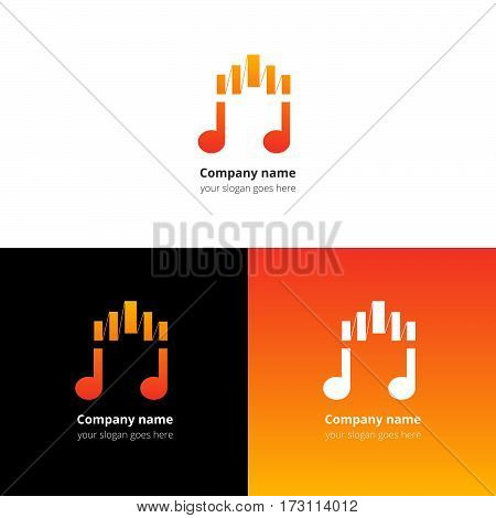 Music note logo, icon, sign, emblem motion equalizer wave beat vector template. Abstract symbol and button with red-orange color trend gradient for music service or company on white background.