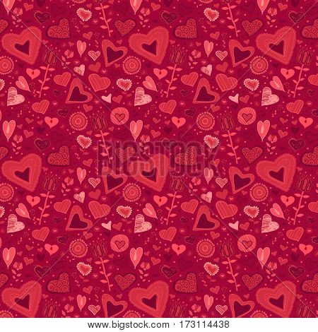 Cute swirly pink flowers and hearts seamless background. Romantic pattern