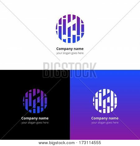 Music note and beat equalizer flat logo, icon, emblem, sign vector template. Abstract symbol and button with light violet-blue trend color gradient for music service or company on white background.