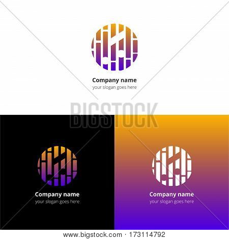 Music note and beat equalizer flat logo, icon, emblem, sign vector template. Abstract symbol and button with orange-violet trend color gradient for music service or company on white background.
