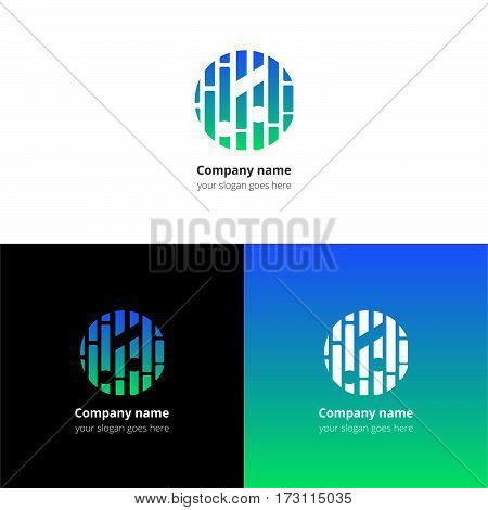 Music note and beat equalizer flat logo, icon, emblem, sign vector template. Abstract symbol and button with blue-green trend color gradient for music service or company on white background.