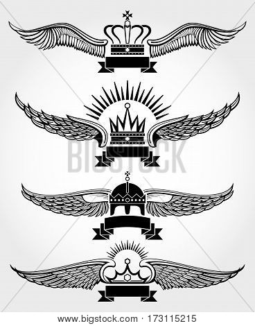 Vector winged crowns and ribbons royal logo templates set in black white illustration