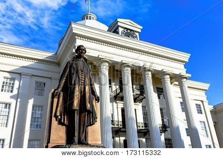 Montgomery Alabama USA - January 28 2017: Close up of the Jefferson Davis statue in front of the Alabama State Capitol Building. Jefferson Davis was the president of the Confederate States of America in the Civil War.