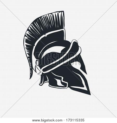 Spartan Helmet logo, Greek warrior, Gladiator emblem, legionnaire heroic soldier. vector