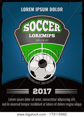 Football, soccer vector poster template. Sport play banner with ball illustration