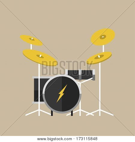 Vector percussion musical instrument drumkit in flat style classical orchestral concert stage traditional national drum cartoon graphic design element vector illustration. Rock entertainment tool.