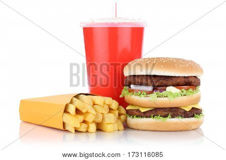 Double Burger Hamburger And Fries Menu Meal Combo Fast Food Drink Isolated