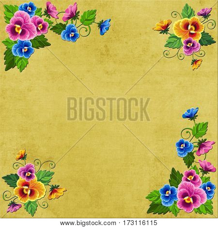 The background Flower corners on an old canvas will be suitable for creativity