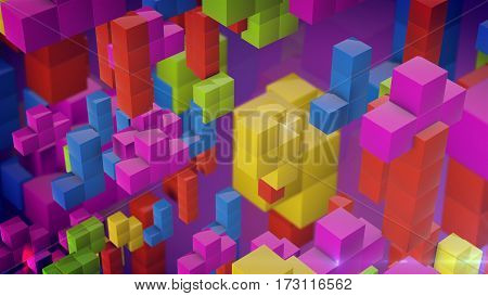 Game Bricks on a purple background. 3d rendering.