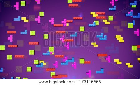 3d rendering of Cube Geometric shapes on a violet background.