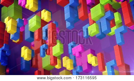 3d rendering of cube game. Beautiful backdrop with 3d blocks.