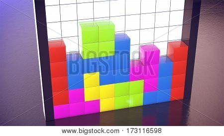 3d rendering of cube logic game. Concept of video games.