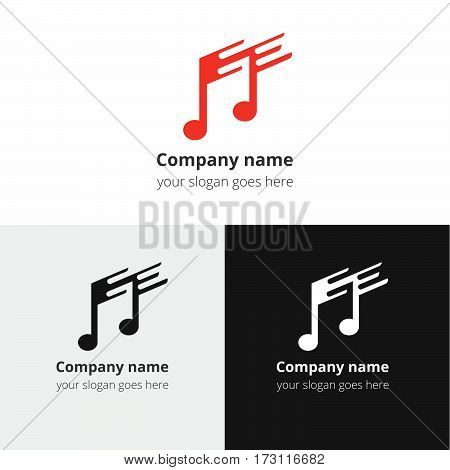Music note and fast-slow motion beat flat logo, icon, emblem, sign vector template. Abstract symbol and button with black and white color for music service or company on white background.