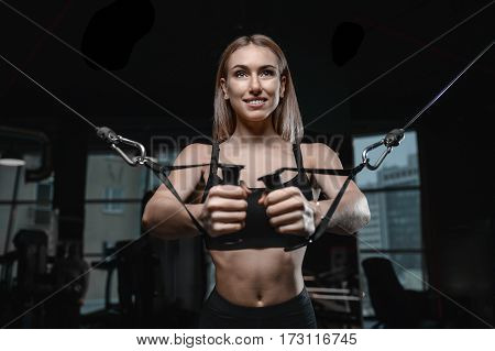 Young Sexy Fitness Woman Train And Exercising In Gym Healthy