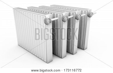 Heating radiators isolated on white background 3d render