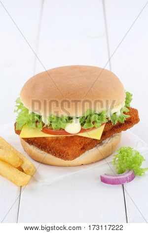 Fish Burger Fishburger Hamburger Copyspace Copy Space Tomatoes Lettuce Cheese