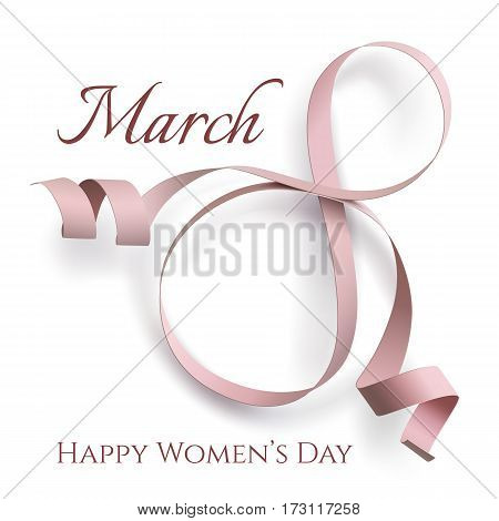 Abstract 8 March greeting card template isolated on white. International Womens day background, invitation or brochure. Vector illustration.