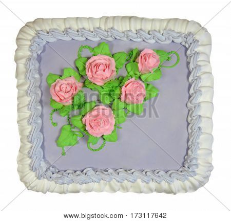 Birthday cake isolated on white. Clipping path included.