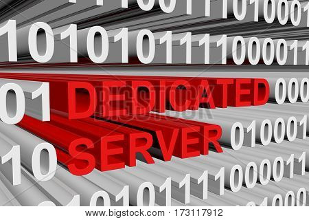 dedicated server are presented in the form of binary code 3d illustration