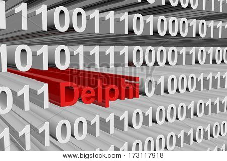 delphi in the form of binary code, 3D illustration