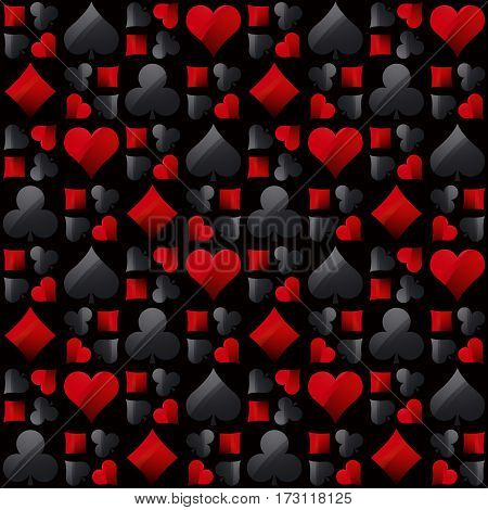 Seamless casino gambling poker background with black and red poker symbols vector illustration. Ideal for printing onto fabric and paper or scrap booking