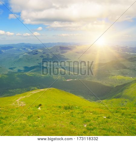 Sunrise in the mountains. View from the top of the mountain Hoverla Carpathian Ukraine.