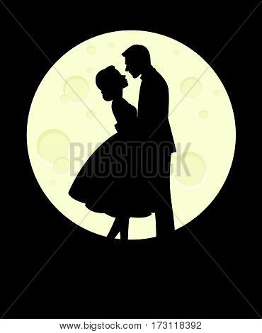 Silhouette of man and woman in love hugging on the background of the full moon vector illustration