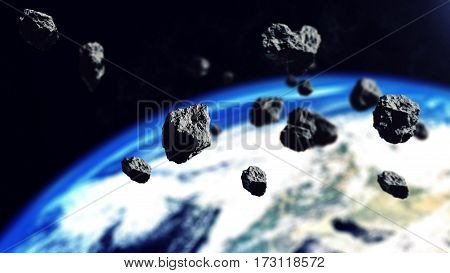 The Asteroids Ready To Attack On The Earth Planet