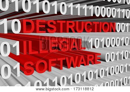 destruction illegal software is presented in the form of binary code 3d illustration