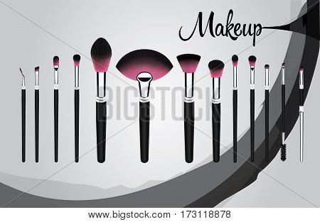 Vector illustration concept of a set of makeup cosmetic brushes with Grundge stroke on background