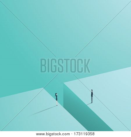 Business gender gap inequality vector concept with businessman and businesswoman standing across gap. Eps10 vector illustration.