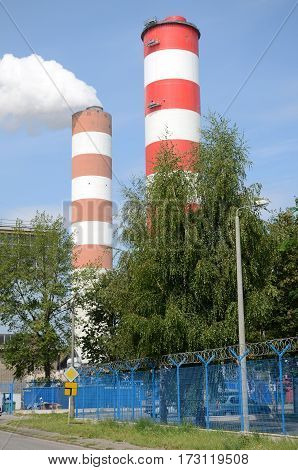 Fuming chimney power plant coal - Poland
