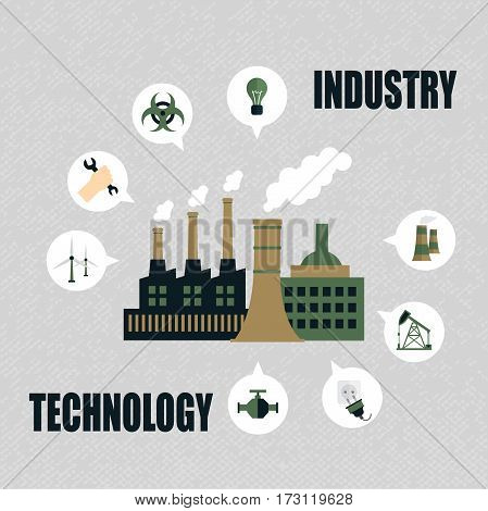 Industrial factory building concept. Production of factory building. Industry and Technology. Vector illustration in a flat style