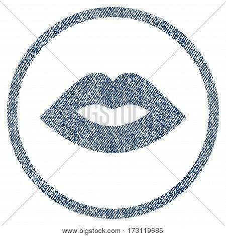 Lips textured icon for overlay watermark stamps. Blue jeans fabric vectorized texture. Rounded flat vector symbol with dirty design. Circled blue ink rubber seal stamp with fiber textile structure.