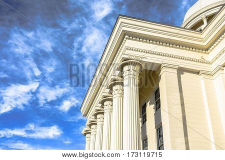 Dental molding and classic collumns found on the Alabama State Capitol Building