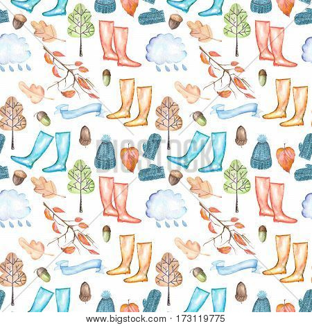 Seamless pattern with watercolor autumn objects (warm hat and mittens, rubber boots, rain cloud, dry tree leaves and other), hand drawn isolated on a white background