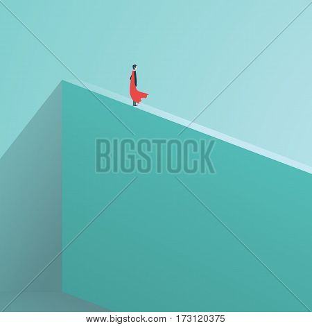 Business superhero businessman standing on high wall. Symbol of business courage, bravery, fearless, power. Eps10 vector illustration.