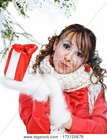 Sexy Woman With Present Wrapped In White Paper